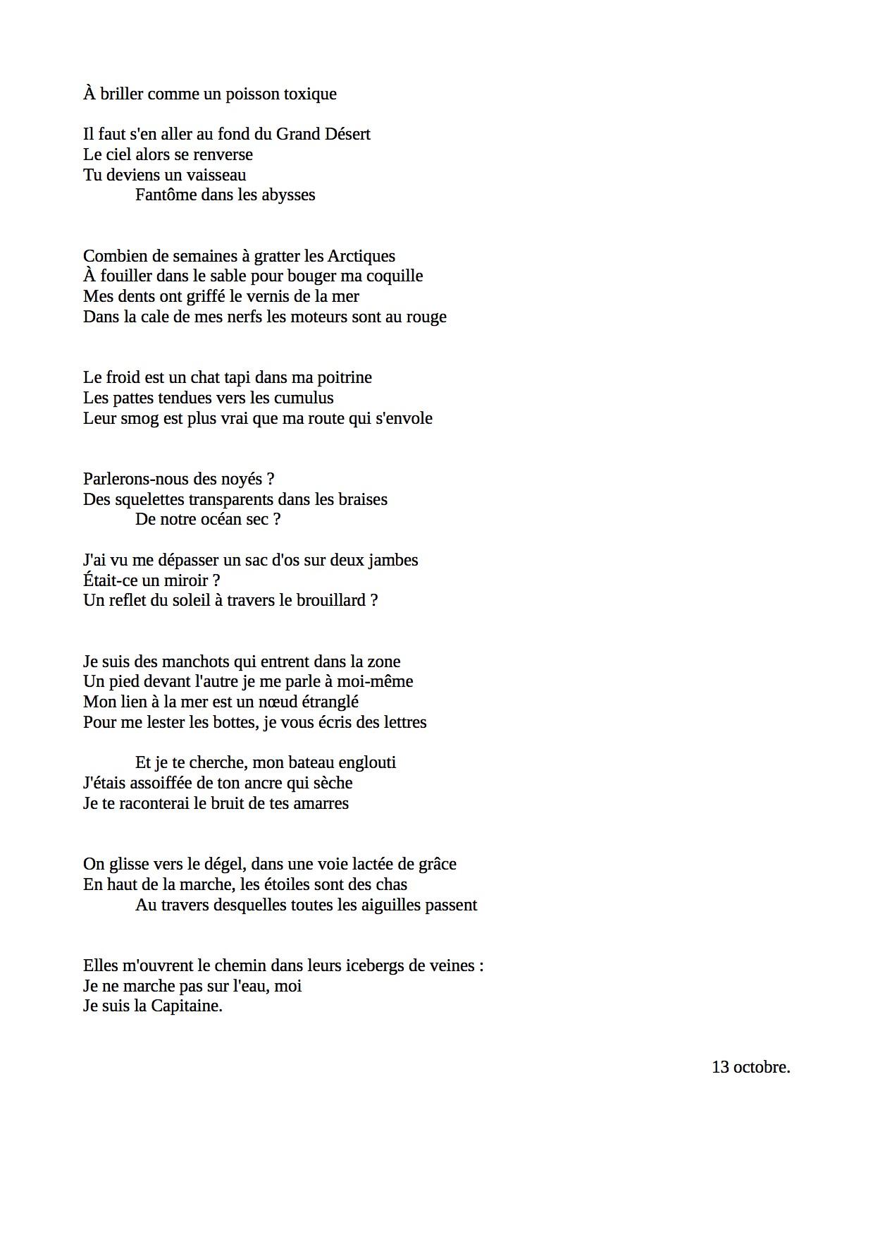 La Capitaine (poème) 2